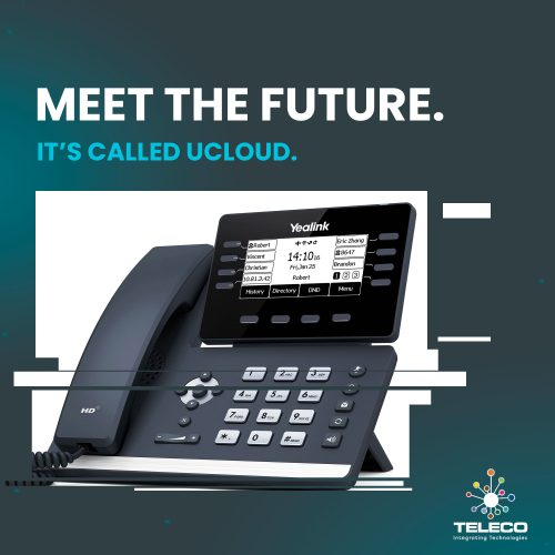 UCloud phone system graphic with teleco logo