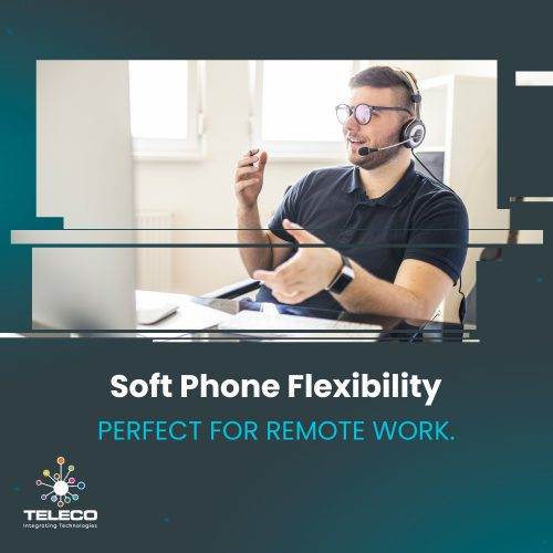 Remote male worker at desk with a headset speaking on the phone with someone