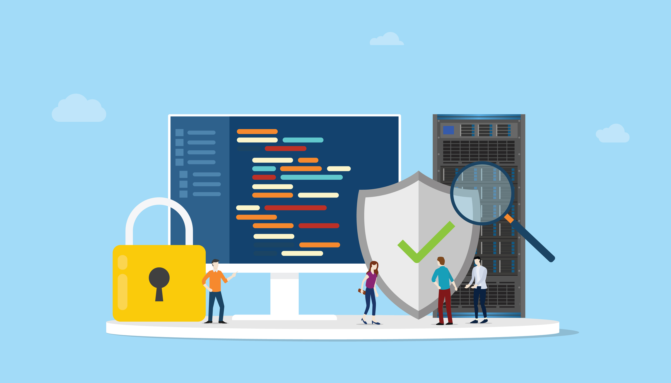 network programming security concept with code program and server safe icon - vector illustration