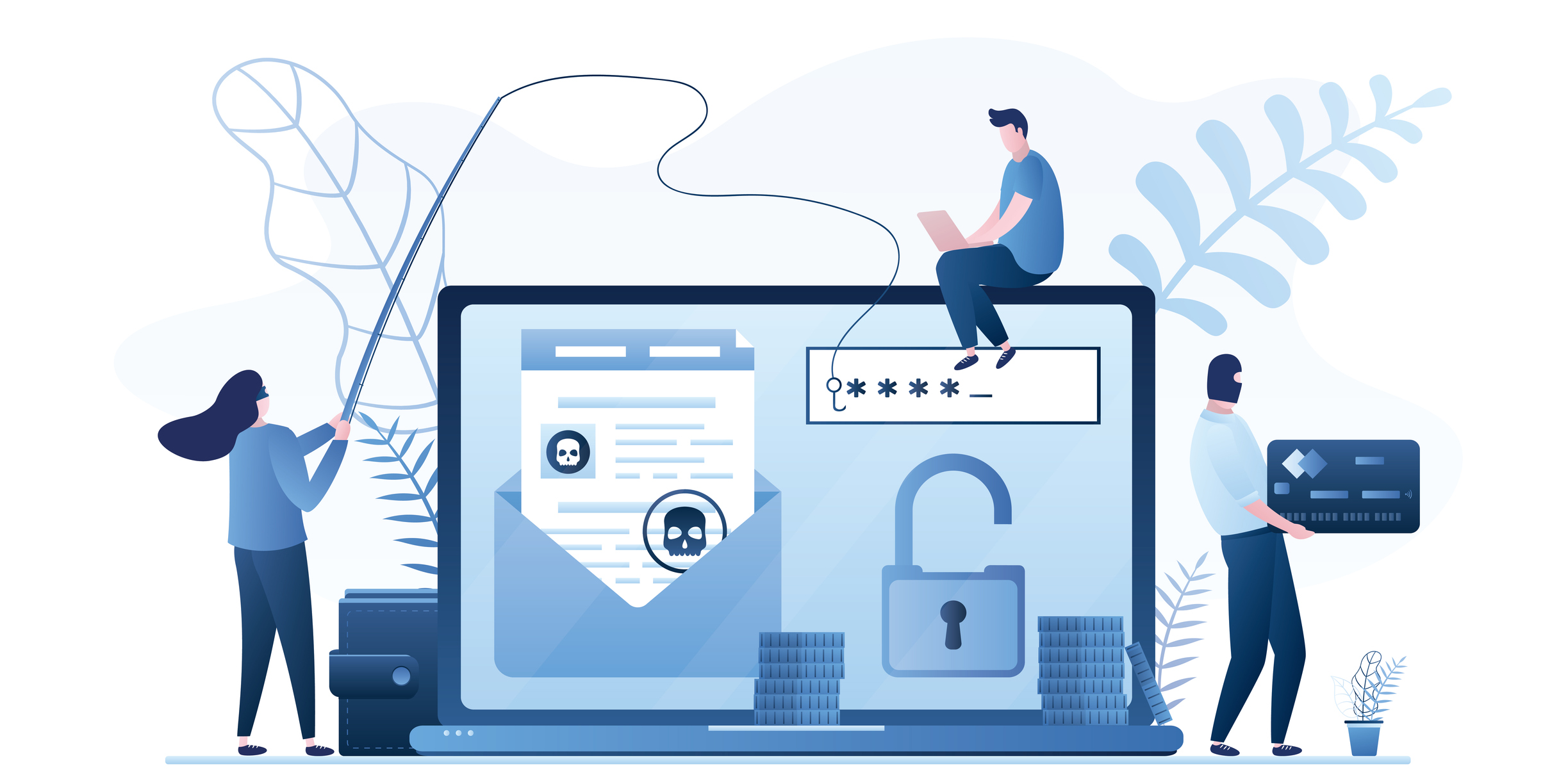 Data phishing concept background. Online scam, malware and password phishing. User with laptop and group of hackers in mask attack computer. Financial Security Problem. Vector illustration